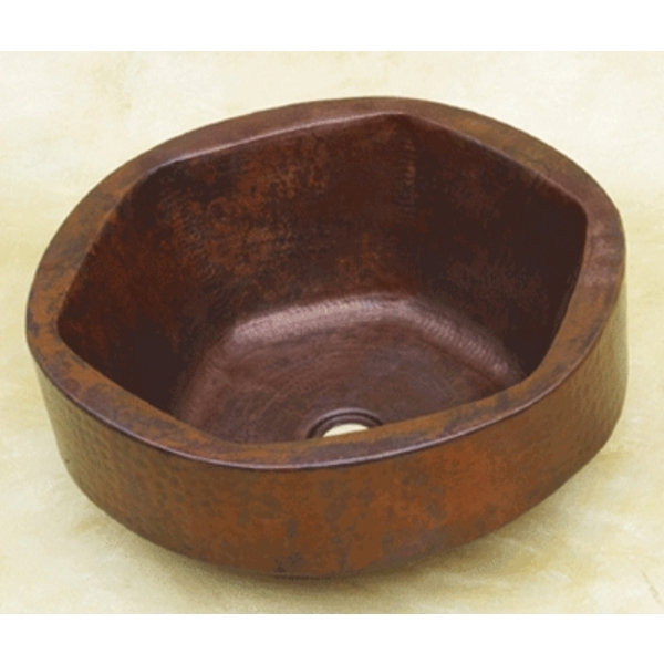 Copper Hexagon Bowl Double Wall Vessel Sink by Pure Spa Copper Elements