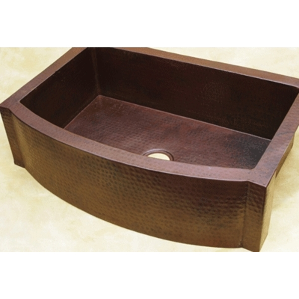 "Copper Kitchen Sink Rounded Front Apron Front with Flat Ends-25"" by Pure Spa Copper Elements"