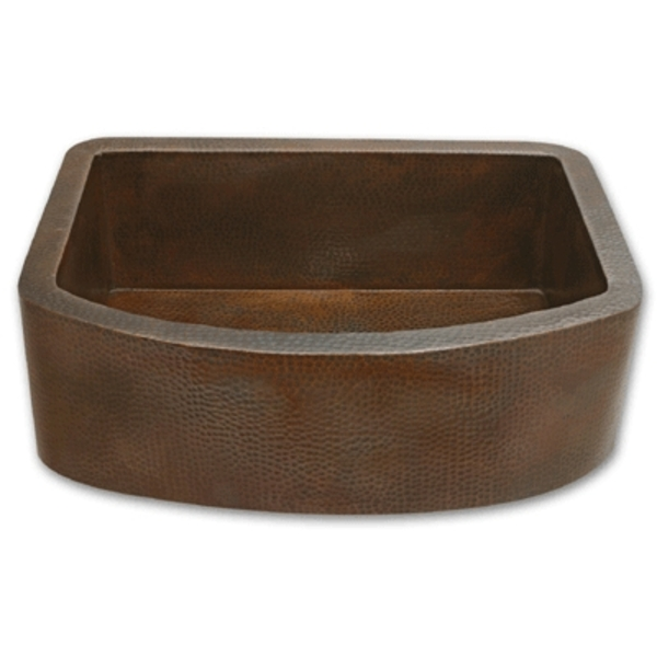 27 Apron Sink : Copper Kitchen Sink Farmhouse Apron Rounded Front 27