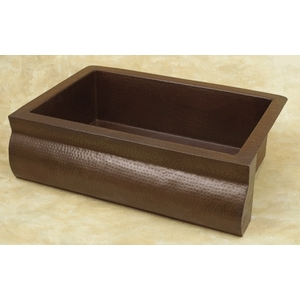 Copper Kitchen Sink Rounded Front Farmhouse Apron Front-Single Bowl by Pure Spa Copper Elements
