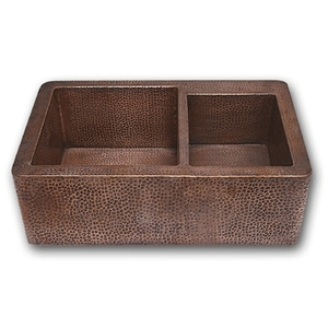 "Copper Kitchen Farmhouse Apron Sink-6040 Split Bowls 33"" by Pure Spa Copper Elements"