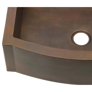 Smooth Copper Kitchen Sink Rounded Front Apron with Flat Ends XL non-hammered by Pure Spa Copper Elements