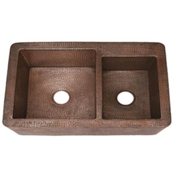 "Copper Kitchen Farmhouse Sink Apron Front 36""-6040 Double Wells XL by Pure Spa Copper Elements"