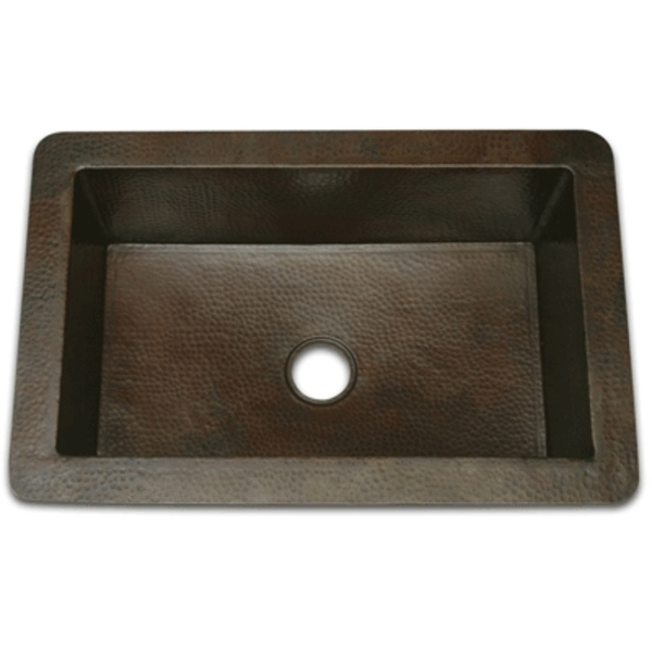 "Copper Kitchen Sink-Single Bowl 27"" by Pure Spa Copper Elements"