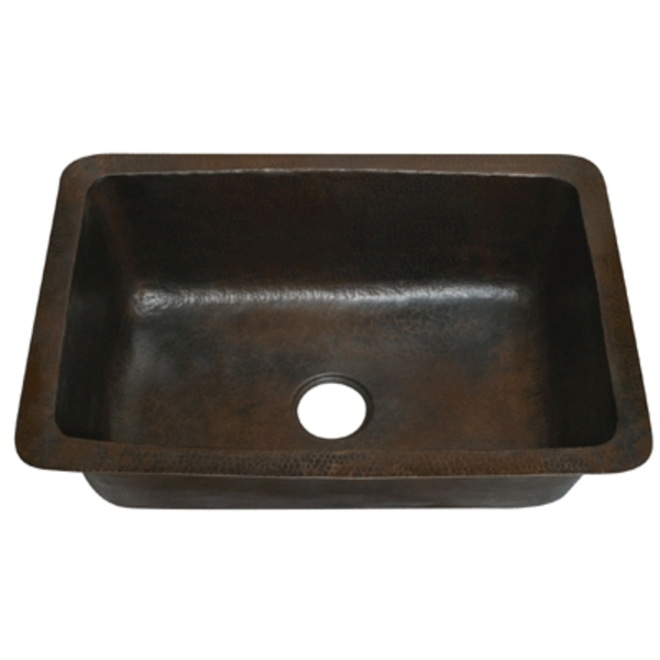 "Copper Kitchen Single Well Sink- Rounded Corners 33"" LARGE by Pure Spa Copper Elements"