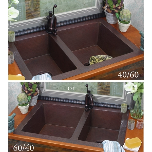 Copper Kitchen Double Well Sink-6040 or 4060 Split Wells LARGE by Pure Spa Copper Elements