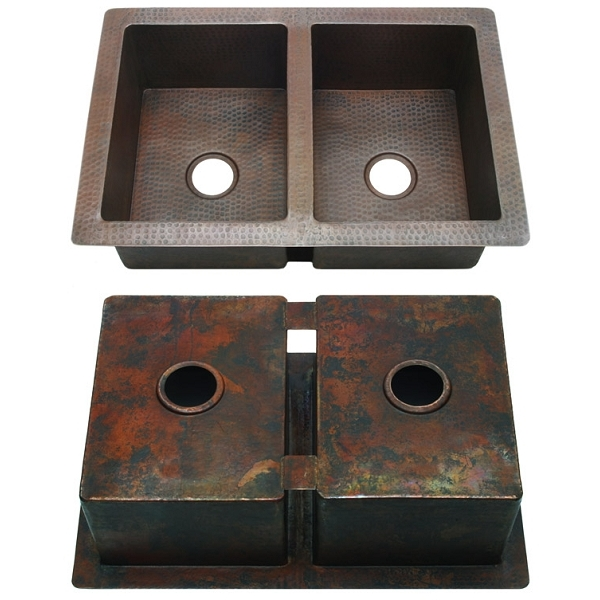 Copper Kitchen Sink-Double Equal 5050 Split by Pure Spa Copper Elements