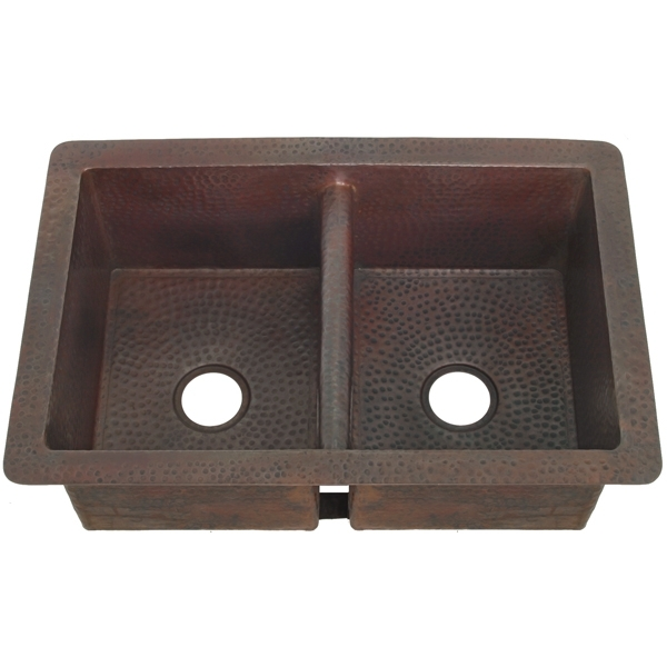Copper Kitchen Sink Double Bowl-Lowered Divider by Pure Spa Copper Elements