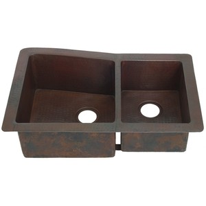 Copper Kitchen Sink-Double Bowl-Angled Well by Pure Spa Copper Elements