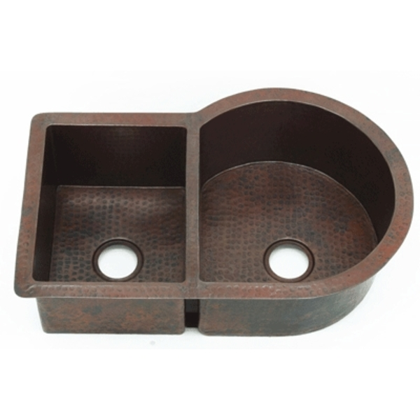 Nautilus Kitchen Double Sink LARGE by Pure Spa Copper Elements