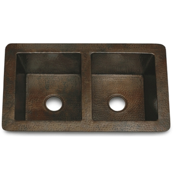 "Copper Kitchen Sink Double Well 36"" by Pure Spa Copper Elements"