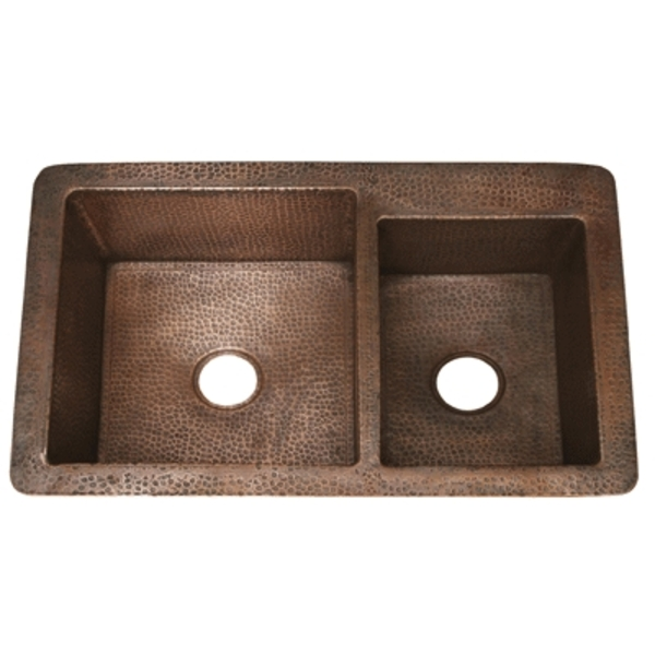 "Copper Kitchen Double Well 6040 Configuration 36"" XL by Pure Spa Copper Elements"