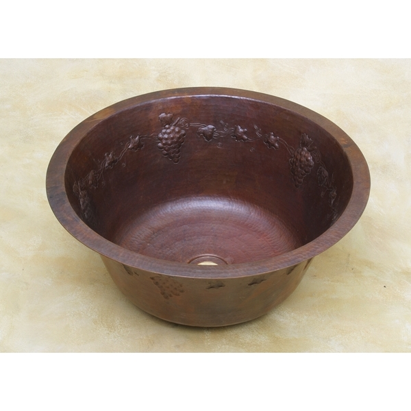 Copper Round BarPrep-Grapevine Sink by Pure Spa Copper Elements