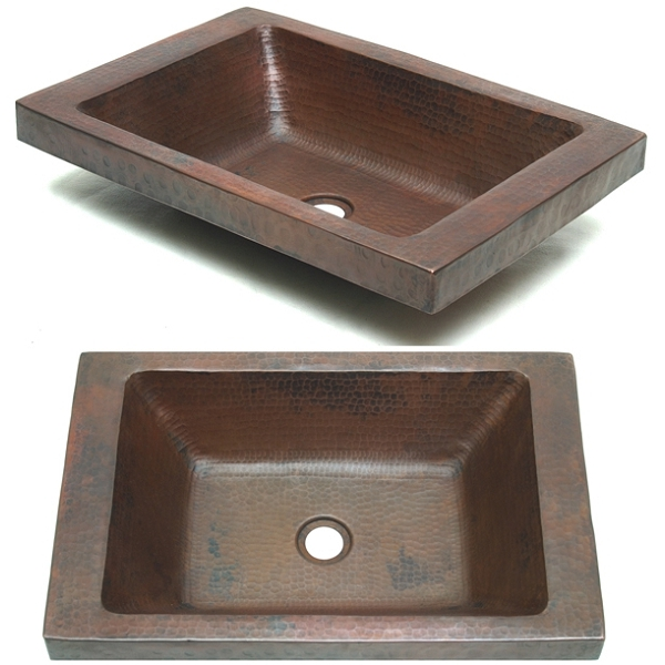Rectangle Double Wall Apron Vessel Sink by Pure Spa Copper Elements
