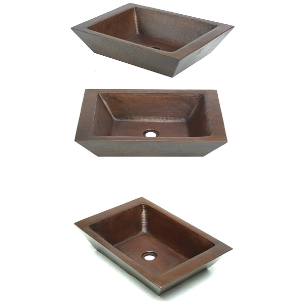 Rectangle Double Thick Vessel Sink by Pure Spa Copper Elements