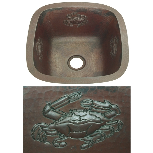 Copper Square BarPrep Sink-Crab by Pure Spa Copper Elements