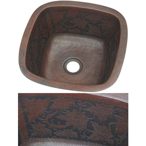 Copper Square BarPrep-Dark Baroque Sink by Pure Spa Copper Elements