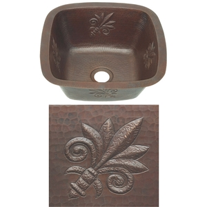 Copper Square BarPrep Sink-Fleur De Lis New by Pure Spa Copper Elements