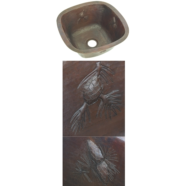Copper Square BarPrep Sink-Pinecones by Pure Spa Copper Elements