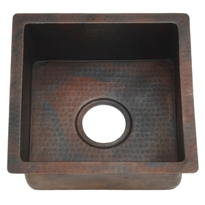 Copper Square BarPrep Sink by Pure Spa Copper Elements