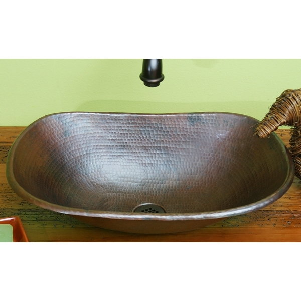 Copper Sleigh Vessel Sink wrolled edge by Pure Spa Copper Elements