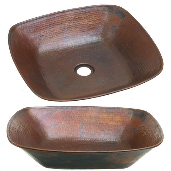 Copper Square Vessel Sink by Pure Spa Copper Elements