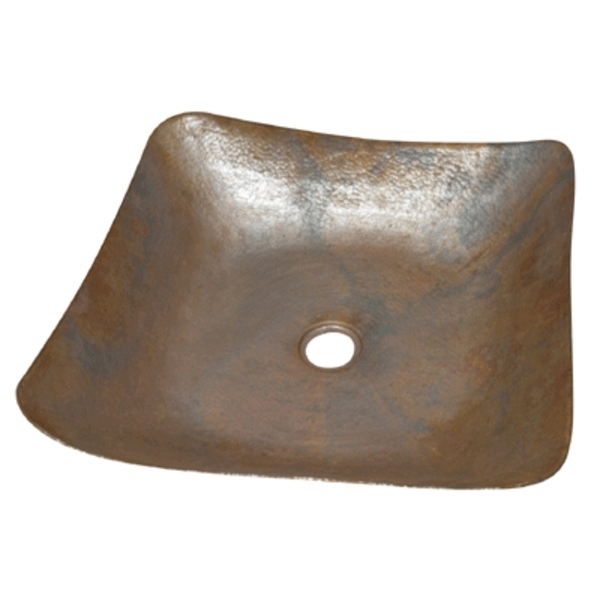 Copper Shallow Square Vessel Sink by Pure Spa Copper Elements