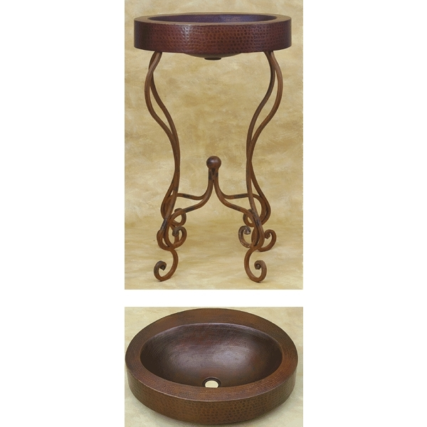 Copper Double Wall Oval Vessel Sink w Wrought Iron Stand by Pure Spa Copper Elements