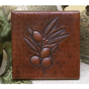 Olive Branch Copper Tile by Pure Spa Copper Elements