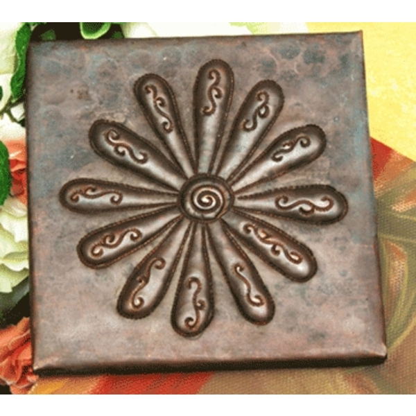 Flower Power Copper Tile by Pure Spa Copper Elements