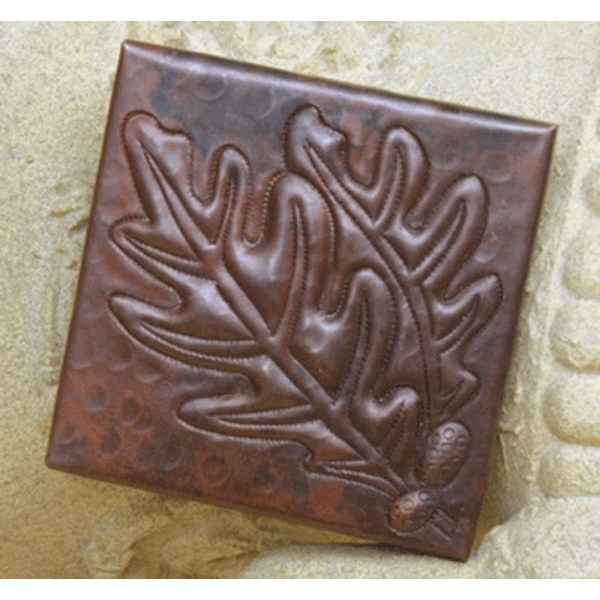Acorns with Leaves Copper Tile by Pure Spa Copper Elements
