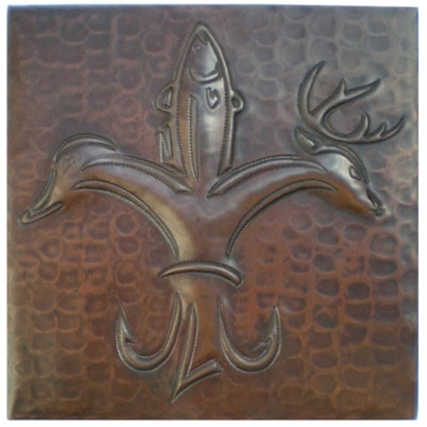 Sportsmen Fleur De Lis Copper Tile by Pure Spa Copper Elements