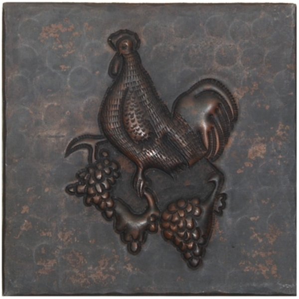 Rooster on Grapevine Copper Tile by Pure Spa Copper Elements