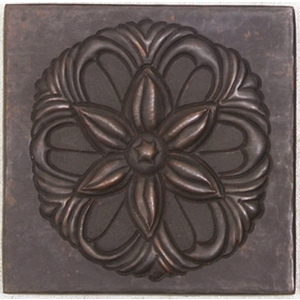 Floral Button Medallion Copper Tile by Pure Spa Copper Elements