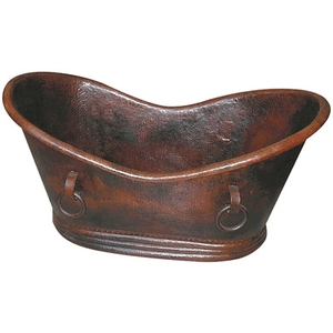 "Copper Tub Grand Slipper Tub with Rings 71"" by Pure Spa Copper Elements"