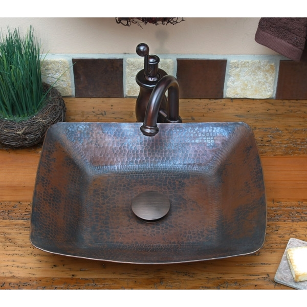 Copper Rectangle Vessel Sink by Pure Spa Copper Elements