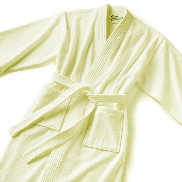 Basic Kimono Robe - Velour 100% Cotton - 14 oz. Ecru (KV1248C)