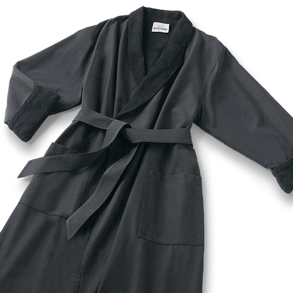 Microfiber Shawl Collar Robe - Black Black Cotton-Poly Lining (MS1152C-BLK)
