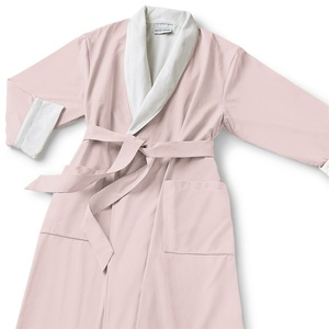 Microfiber Shawl Collar Robe - Pink Off-White Cotton-Poly Lining (MS1152C-PPARCH)