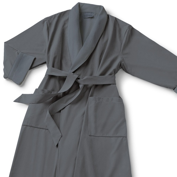 Microfiber Shawl Collar Robe - Grey Grey Cotton-Poly Lining (MS1152C-PGREY)