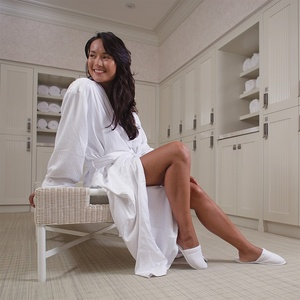 Satin Stripe Shawl Collar Robe White (MS1652C)