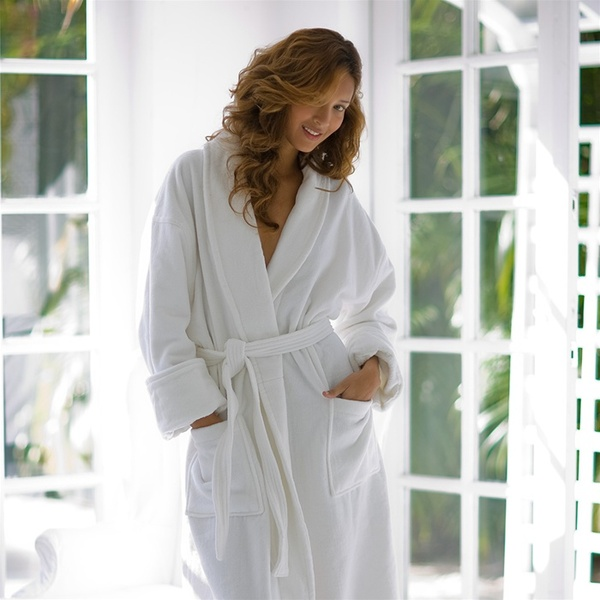 Organic Classic Shawl Collar Robe - Terry - Organic Cotton White (SL1252CO)
