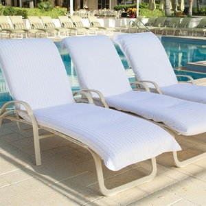 Lounge Chair Cover - Velour Stripe With Fitted Hood White (LCVS8530C)