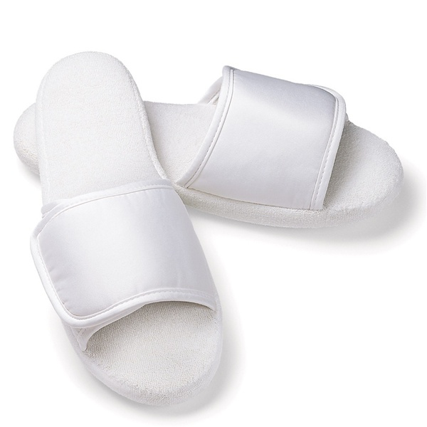 Slippers - Open Toe with Velcro Closure - Microfiber Woman's White (8100CWO-VELCRO)