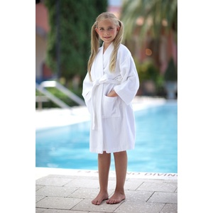 Kid's Kimono Velour Robe - 100% Cotton - 12 oz. White - Ages 8-10 Years (KV1031C)