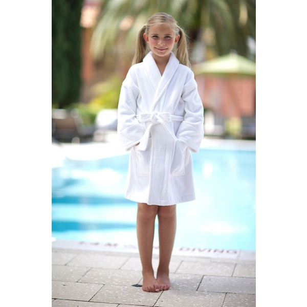 Kid's Shawl Velour Robe White - Ages 6-10 Years (SV1229C)