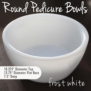 Round Pedicure Bowl Frost White Durable Resin Material - The New Signature Collection by Noel Asmar (PB1011FR)