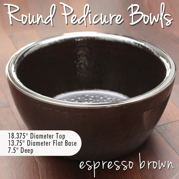 Round Pedicure Bowl Espresso Brown Durable Resin Material - The New Signature Collection by Noel Asmar (PB1011EX)