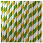 Paper Drinking Straws - Lemon Lime (Dark Green & Bright Yellow) - Qty of 30