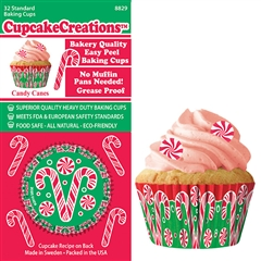 Bakery Quality Cupcake Baking Cups - Candy Canes (32 pieces)